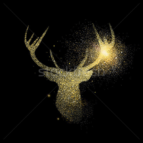 Gold deer glitter concept icon symbol illustration Stock photo © cienpies