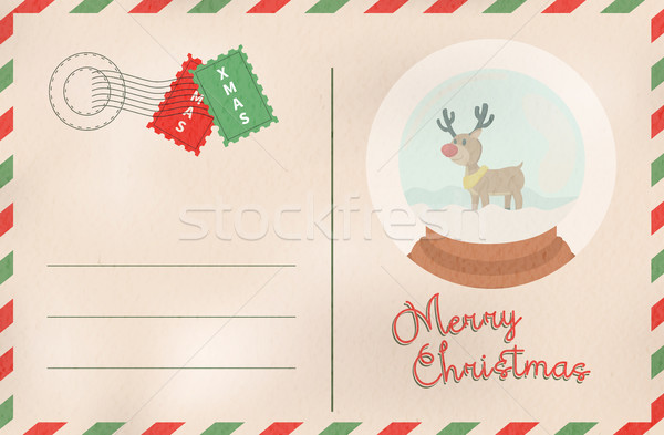 Merry Christmas retro snow globe holiday postcard Stock photo © cienpies