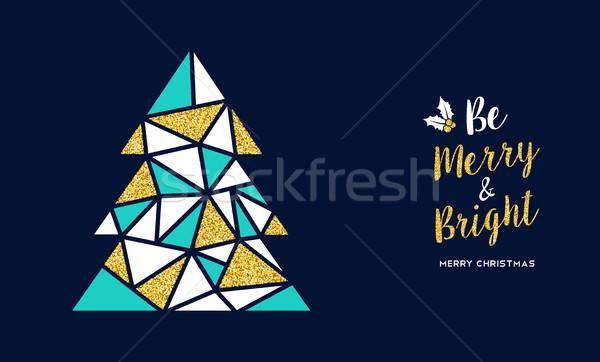 Joyeux Noël or glitter arbre carte de vœux Photo stock © cienpies
