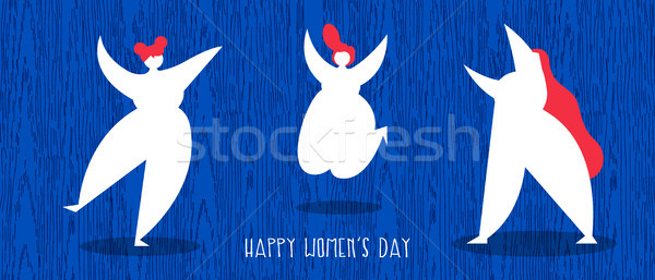 Happy women day web banner with diverse girl group Stock photo © cienpies