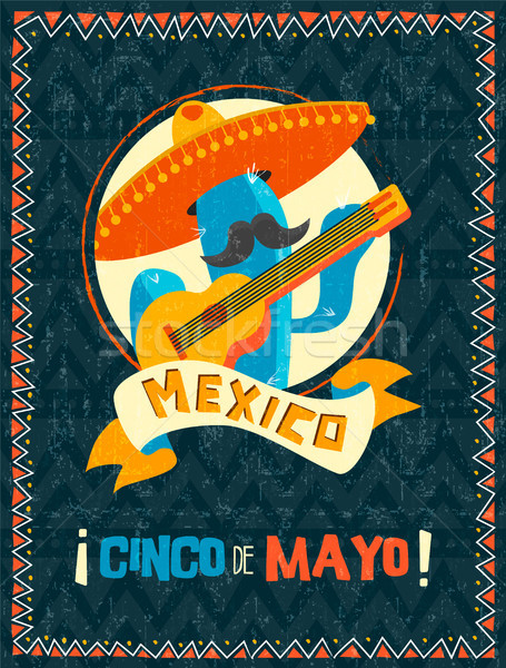 Cinco de mayo mexican mariachi cactus poster Stock photo © cienpies