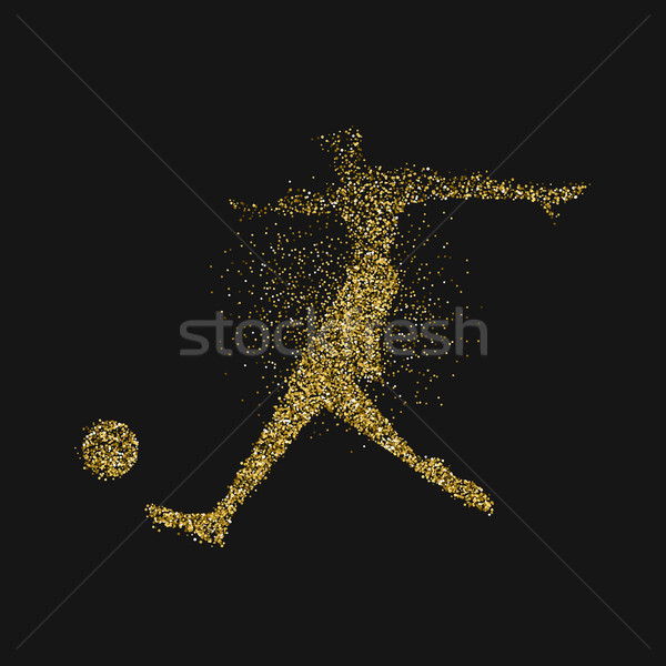 Soccer player silhouette in gold glitter splash Stock photo © cienpies