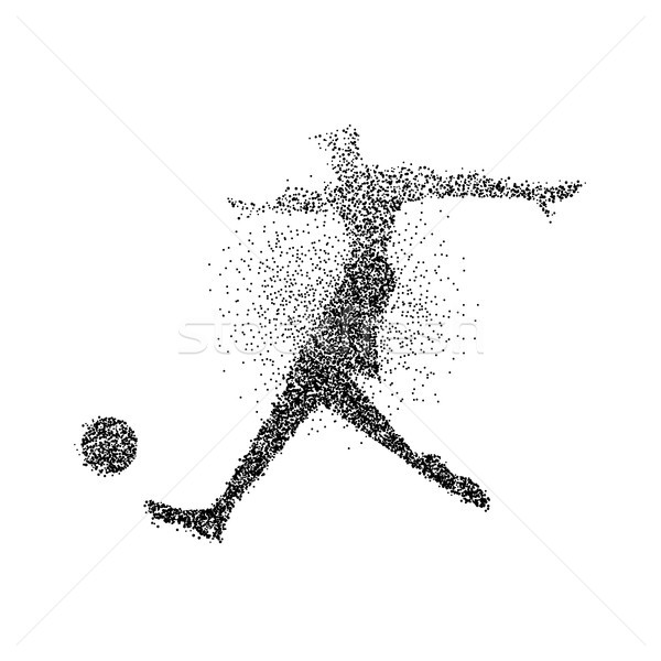 Jogador de futebol partícula salpico cartaz silhueta preto Foto stock © cienpies