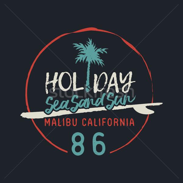 Malibu california vintage surf club text label Stock photo © cienpies
