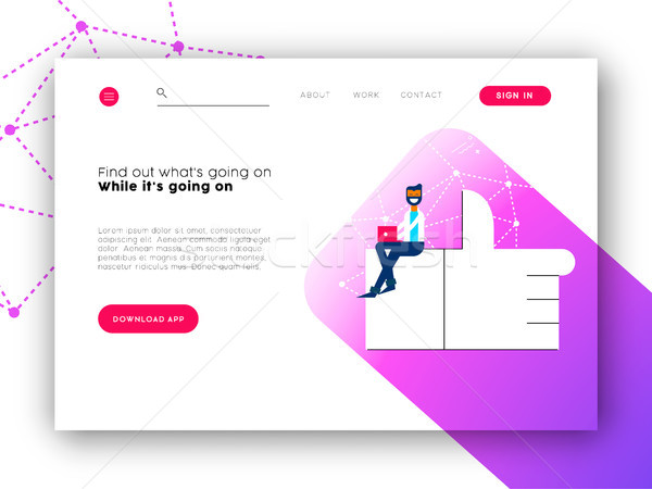 Social network app landing page for internet site Stock photo © cienpies