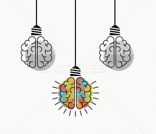 創造的思考 人間の脳 電球 実例 電気 ビジネス ストックフォト © cienpies