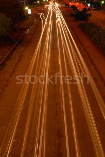 ışık hatları sokak şehir Cityscape gece Stok fotoğraf © cienpies