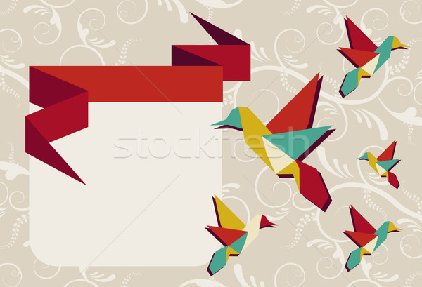 оригами hummingbird группа цветами Сток-фото © cienpies