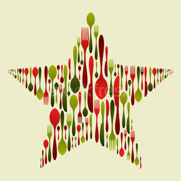 Foto stock: Talheres · conjunto · natal · estrela · garfo