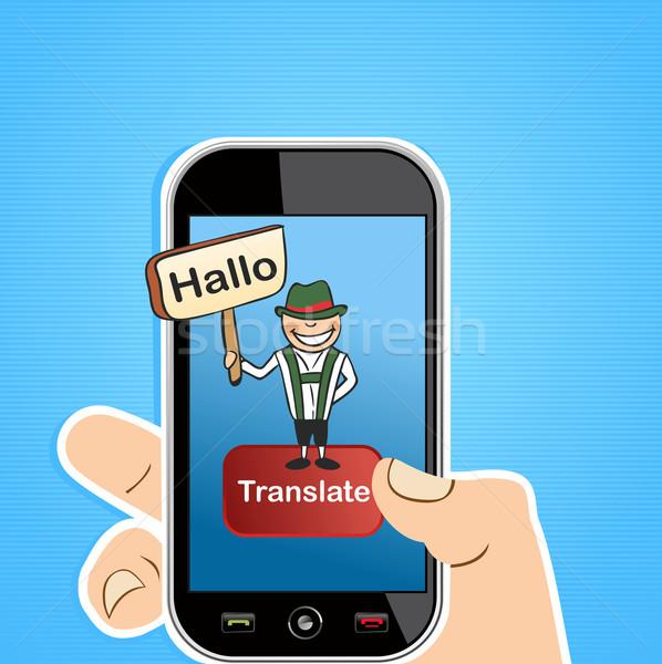 Okostelefon kéz tart férfi felirat fordítás Stock fotó © cienpies