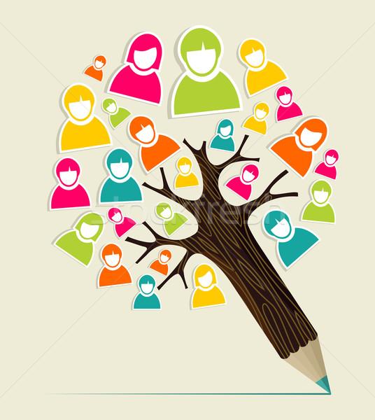 Diverzitás emberek ceruza fa közösségi média profil Stock fotó © cienpies
