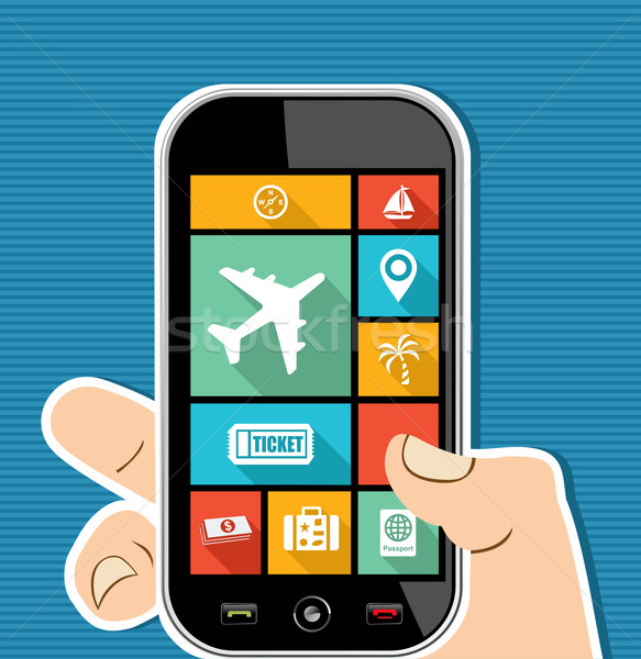 Human hand mobile colorful Travel UI apps flat icons. Stock photo © cienpies