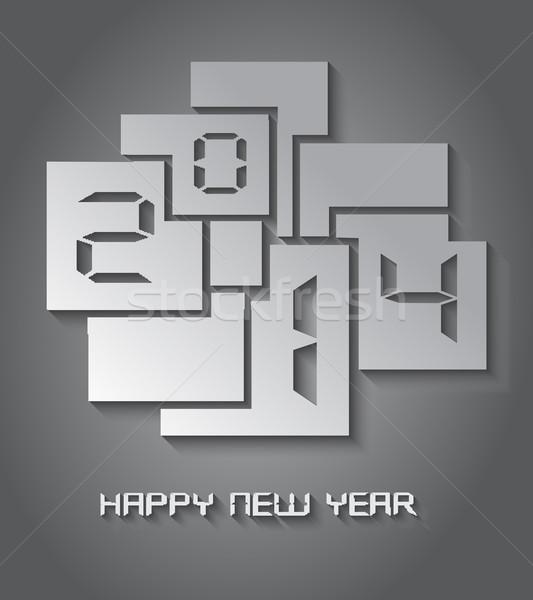 Capodanno 2014 carta taglio cartolina illustrazione Foto d'archivio © cienpies