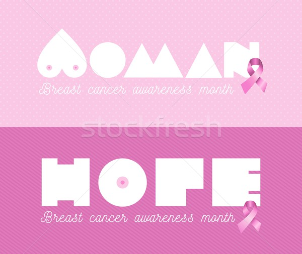 Woman breast cancer awareness pink banner set Stock photo © cienpies