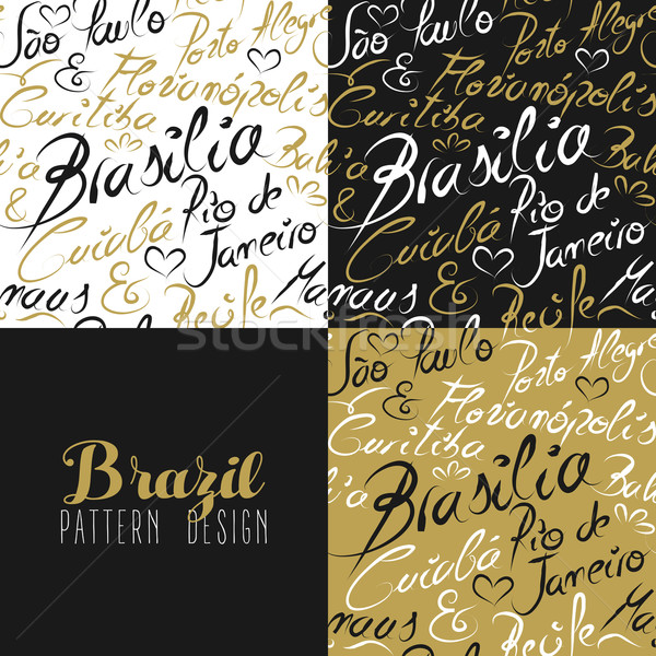 Travel brazil south america rio city pattern gold Stock photo © cienpies