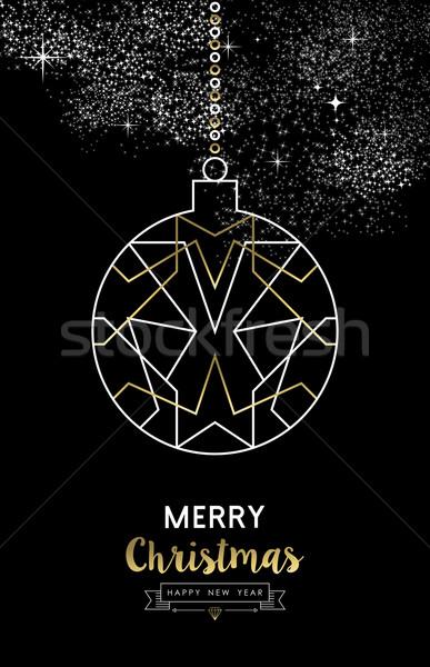 Vrolijk christmas nieuwjaar snuisterij bal schets Stockfoto © cienpies