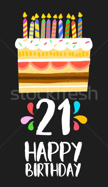 С Днем Рождения торт карт двадцать один год Сток-фото © cienpies