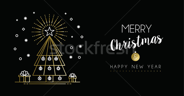 золото Рождества Новый год сосна баннер Сток-фото © cienpies