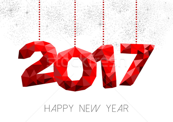 Red New Year 2017 illustration design in low poly Stock photo © cienpies