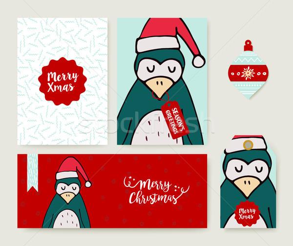 Noel tatil tebrik kartı hayvan karikatür ayarlamak Stok fotoğraf © cienpies