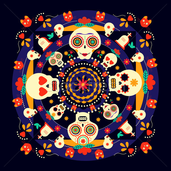 Day of the dead sugar skull holiday background Stock photo © cienpies