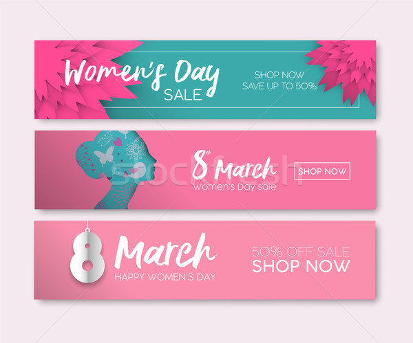 Womens Day web sale banner set for internet store Stock photo © cienpies