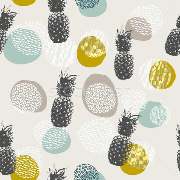 Summer pineapple background with boho decoration Stock photo © cienpies