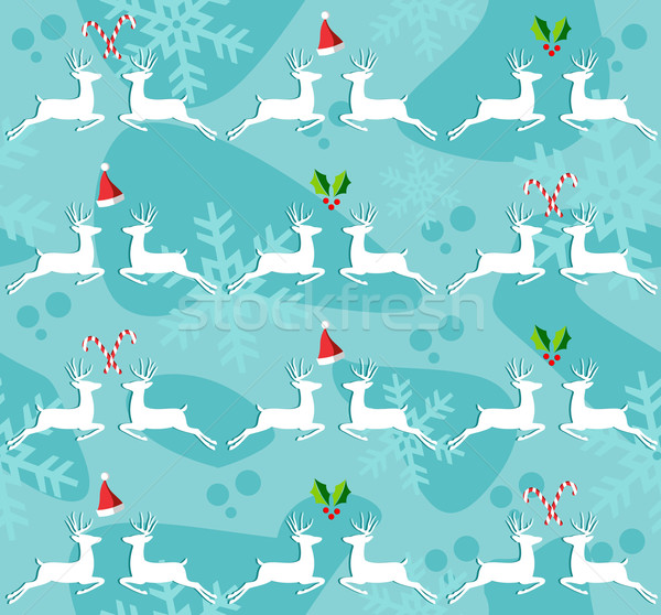 Christmas reindeer seamless pattern background Stock photo © cienpies