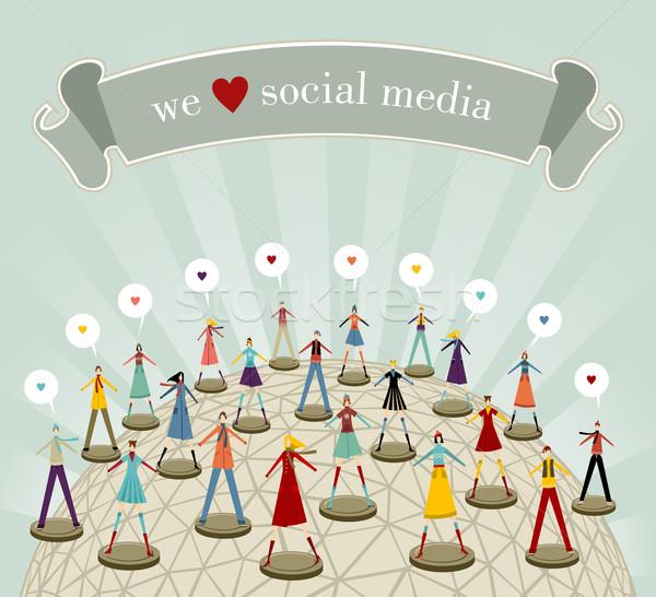 Stock photo: We love social media network