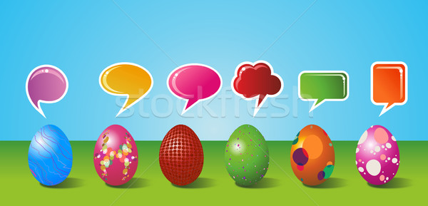 Social media painted Easter egg set Stock photo © cienpies