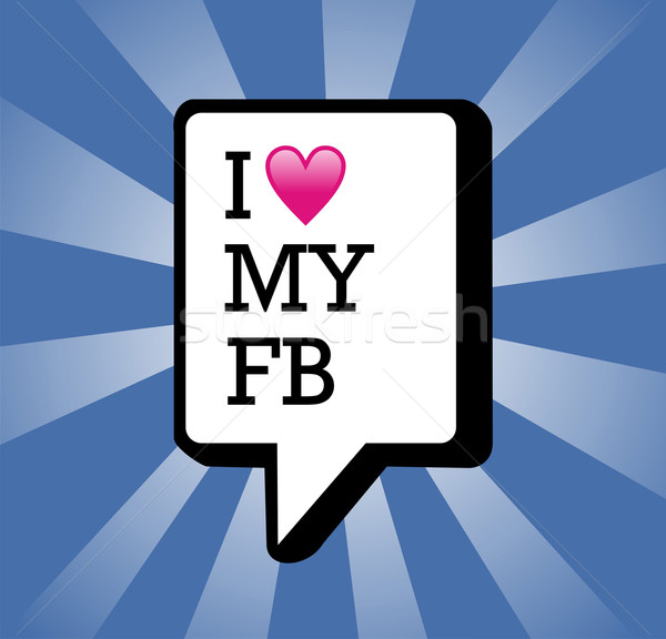 Liefde mijn facebook illustratie tekst communicatie Stockfoto © cienpies