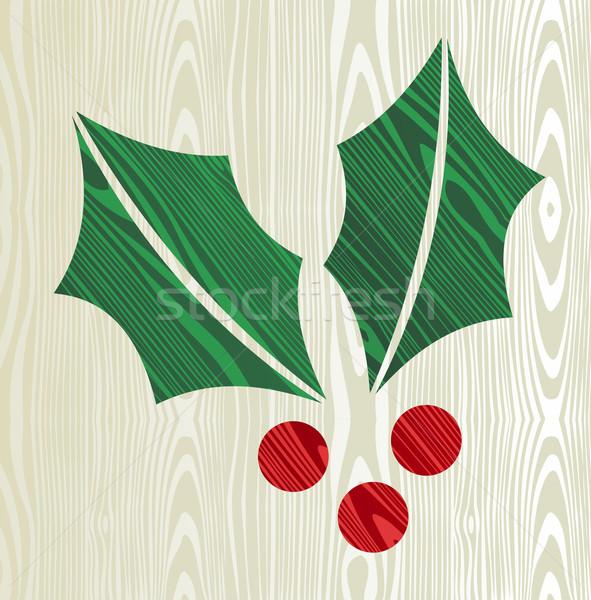 Noel ahşap ökseotu siluet biçim tebrik kartı Stok fotoğraf © cienpies
