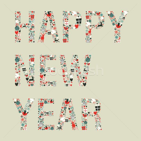 Stock photo:  2013 happy new year xmas icons