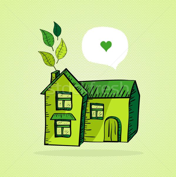 рисованной теплица эскиз стиль листьев любви Сток-фото © cienpies