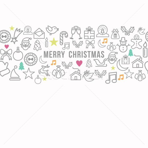 Merry Christmas pattern outline icons set card background Stock photo © cienpies