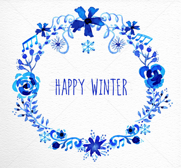 Winter flowers wreath greeting card Stock photo © cienpies