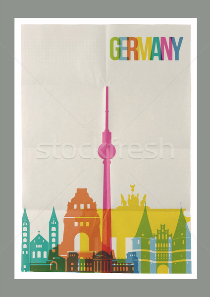 Viaje Alemania horizonte vintage anunciante famoso Foto stock © cienpies