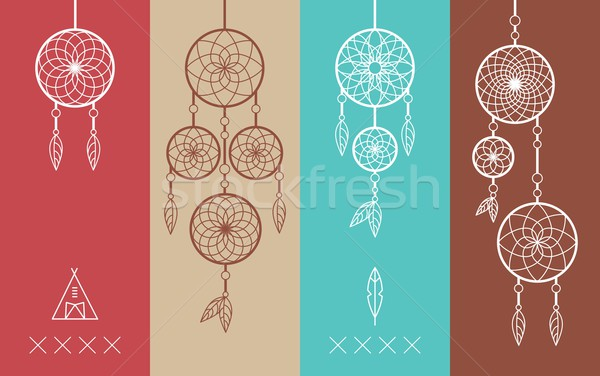 Dream catcher boho flat line icons set Stock photo © cienpies