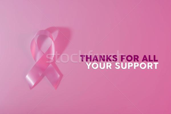 Borstkanker bewustzijn lint banner tekst Stockfoto © cienpies