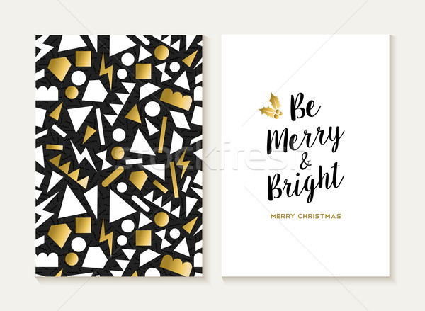 Merry christmas card gold retro 80s pattern Stock photo © cienpies