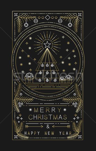 Vidám karácsony új év arany skicc karácsony Stock fotó © cienpies
