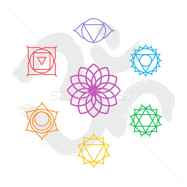Color chakra icon set outline with om background Stock photo © cienpies