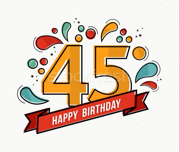 Auguri Buon Compleanno 45.Colorato Buon Compleanno Numero Line Design