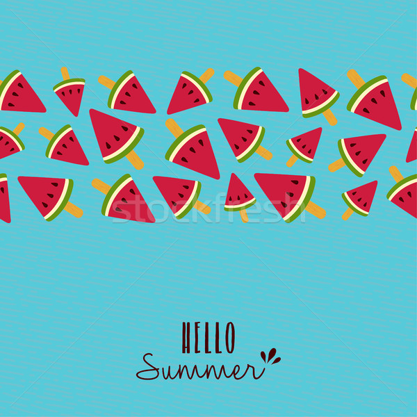 Hello summer quote watermelon pattern card design Stock photo © cienpies