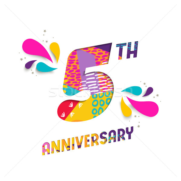 Happy 5 Year Anniversary Paper Cut Greeting Card Vector Illustration