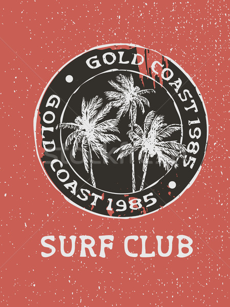 Surf club surfer stamp with hand drawn palm trees Stock photo © cienpies