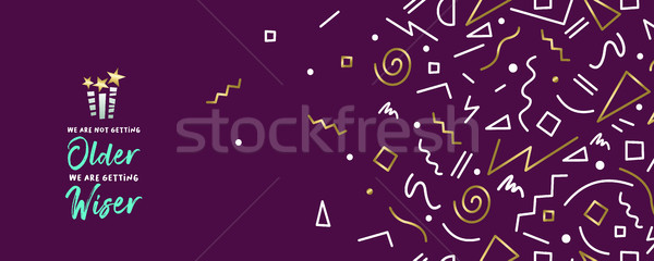 Happy birthday web banner with gold decoration Stock photo © cienpies
