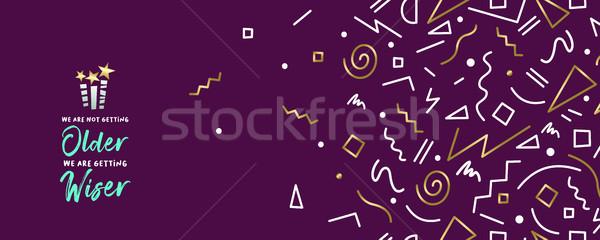 Joyeux anniversaire web bannière or décoration rétro Photo stock © cienpies
