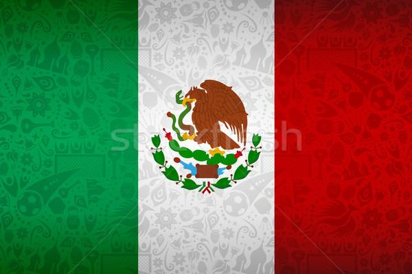 Meksyk banderą rosyjski piłka nożna przypadku symbol Zdjęcia stock © cienpies