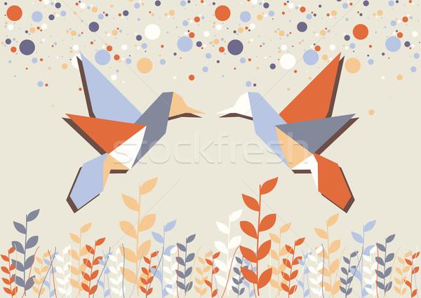 оригами hummingbird пару бежевый пастельный вектора Сток-фото © cienpies